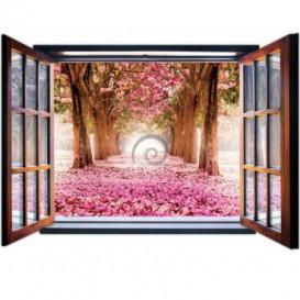 Fototapeta - FT0825 - Okno - ružový háj