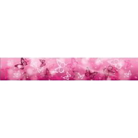 Ozdobné pásy na stenu - MP0299 - Ružové motýle