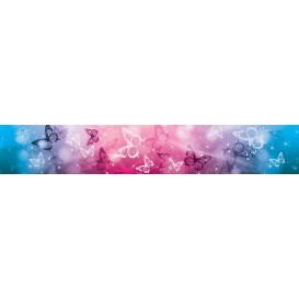 Ozdobné pásy na stenu - MP0300 - Modro ružové motýle