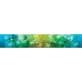 Ozdobné pásy na stenu - MP0301 - Modro zelené motýle