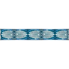 Ozdobné pásy na stenu - MP0303 - Biely klasický vzor na modrom pozadí
