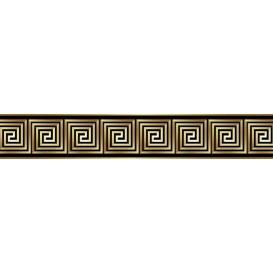 Ozdobné pásy na stenu - MP0305 - Zlatý štvorcový vzor na hnedom pozadí