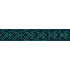 Ozdobné pásy na stenu - MP0306 - Modrý barokový vzor na čiernom pozadí