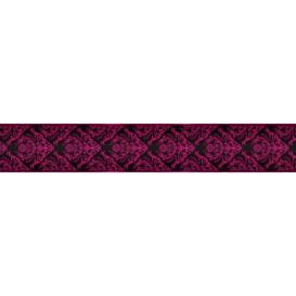 Ozdobné pásy na stenu - MP0307 - Purpurový barokový vzor na čiernom pozadí