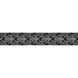 Ozdobné pásy na stenu - MP0309 - Biely barokový vzor na čiernom pozadí