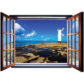 Fototapeta - FT5572 - Okno - veterný mlyn na pobreží