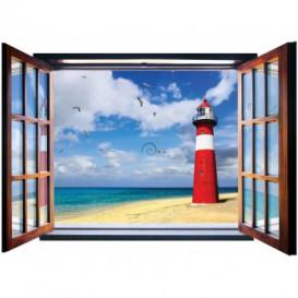 Fototapeta - FT5575 - Okno - maják na pláži