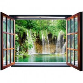 Fototapeta - FT5586 - Okno - vodopád v lese