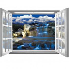 Fototapeta - FT5589 - Okno biele - modrý vodopád
