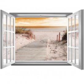 Fototapeta - FT5591 - Okno biele - cesta na piesočnú pláž