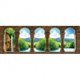 Rohová fototapeta - FT5617 - Krajina s vodopádom - výhľad