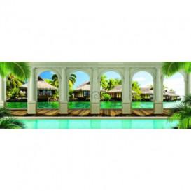 Rohová fototapeta - FT5625 - Tropické domčeky - výhľad