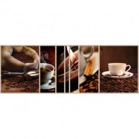 Rohová fototapeta - FT5634 - Kávové zrná a šálka kávy