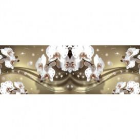 Rohová fototapeta - FT5637 - Biele kvety na zlatom pozadí