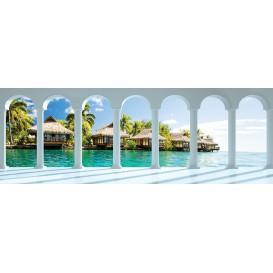 Rohová fototapeta - FT5642 - Tropické domčeky - výhľad