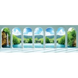 Rohová fototapeta - FT4071 - Krajina s vodopádom - výhľad