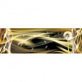 Rohová fototapeta - FT4065 - Púpava v žltých abstraktných vlnách