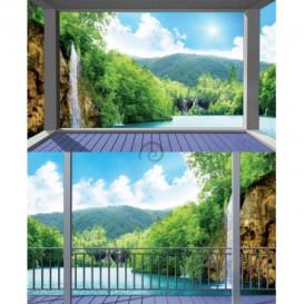 Rohová fototapeta - FT5652 - Krajina s vodopádom - výhľad