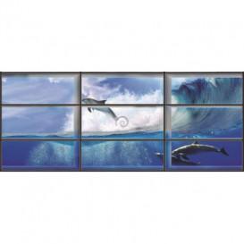Rohová fototapeta - FT0175 - Delfíny - okno