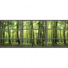 Rohová fototapeta - FT0151 - Zelené stromy - okno