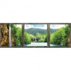 Rohová fototapeta - FT0017 - Krajina s vodopádom - okno