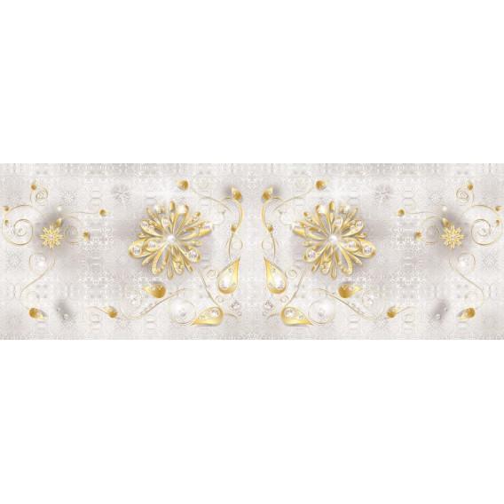 Rohová fototapeta - FT3393 - Zlatý kvet na bielom podklade