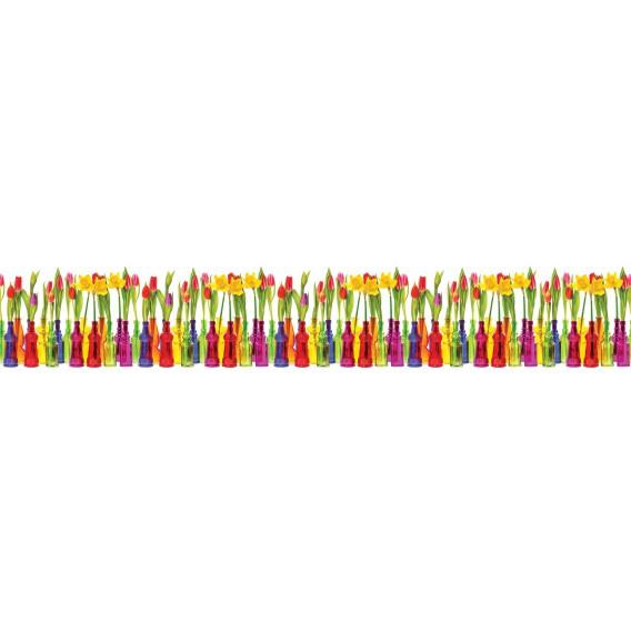 Panel kuchynská linka - FT5674 - Farebné fľaše s kvetmi