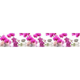 Panel kuchynská linka - FT5689 - Ružové orchidey a kamene