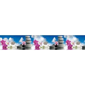 Panel kuchynská linka - FT5690 - Ružové orchidey a kamene