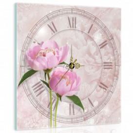 Nástenné hodiny - NH0133 - Ružové kvety