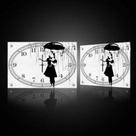 Nástenné hodiny - NH0393 - Dievča s dáždnikom