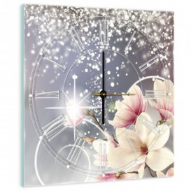 Nástenné hodiny - NH0428 - Ružovo biele kvety