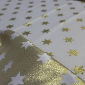 Vianočný obojstranný teflónový obrus zlatý Hviezdy stredné