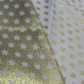 Vianočný obojstranný teflónový obrus zlatý Hviezdy malé