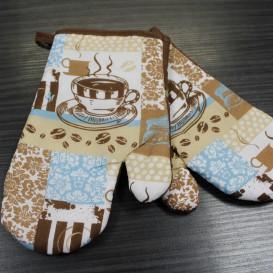 Kuchynské rukavice 2ks hnedo-modrá