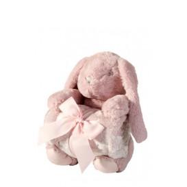 Detská deka s plyšovým zajačikom rúžová