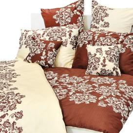 Posteľné obliečky bavlnený satén hnedý ornament