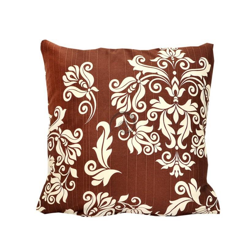 790f60cc8721 Posteľné obliečky bavlnený satén hnedý ornament