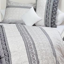 Posteľné obliečky bavlnený satén sivý ornament