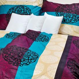 Posteľné obliečky bavlnený satén farebné pruhy s ornametom