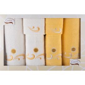 Komplet ručníkov bielo-žltý 6ks