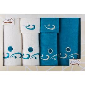 Komplet ručníkov bielo-tyrkysová 6ks