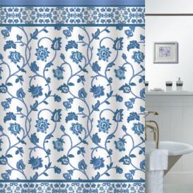 Kúpeľňový záves  Modré kvety 180x180cm