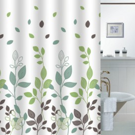 Kúpeľňový záves  Zelené listy 180x180cm