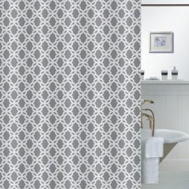 Kúpeľňový záves  sivo-biely 180x180cm