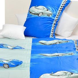 Posteľné obliečky bavlnené Modré autá