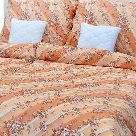Posteľné obliečky bavlnené Oranžovohnedé kvety