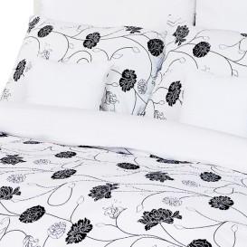 Posteľné obliečky krepové Čiernobiele kvety