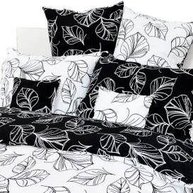 Posteľné obliečky krepové Čiernobiele listy
