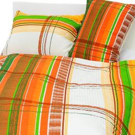 Posteľné obliečky bavlnené Oranžovozelené pásy